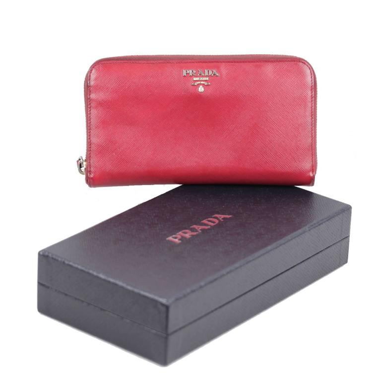PRADA Italian Red SAFFIANO Leather CONTINENTAL ZIP WALLET Coin Purse w/ BOX