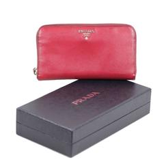Prada Italian Red Saffiano Leather Continental Zip Wallet Coin Purse