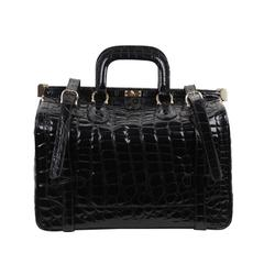 Aldo Raffa Italian Black Embossed Patent Leather Travel Bag Carry On Suitcase