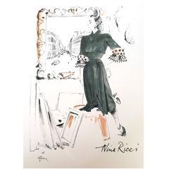 Vintage Nina Ricci Ad Print - 1960's - Rare
