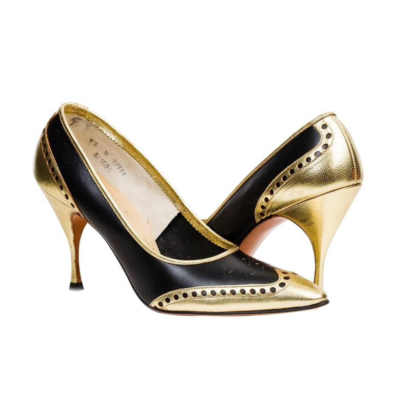 1950s Gold Wingtip Stilettos For Sale