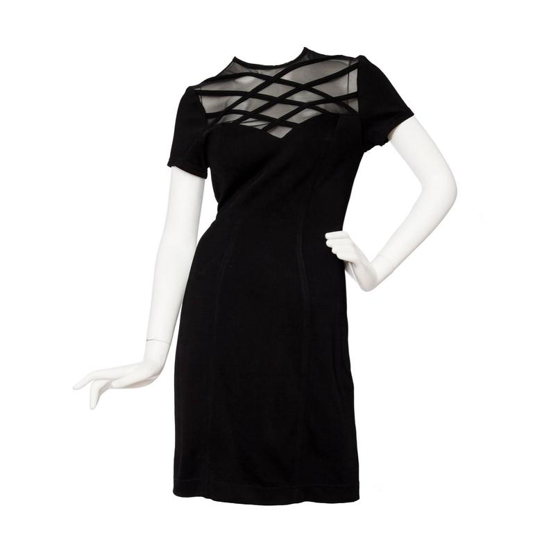 1980s Lanvin Little Black Dress W. Structured Mesh Detail