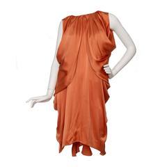 1990s Yves Saint Laurent Draped Orange Silk Dress