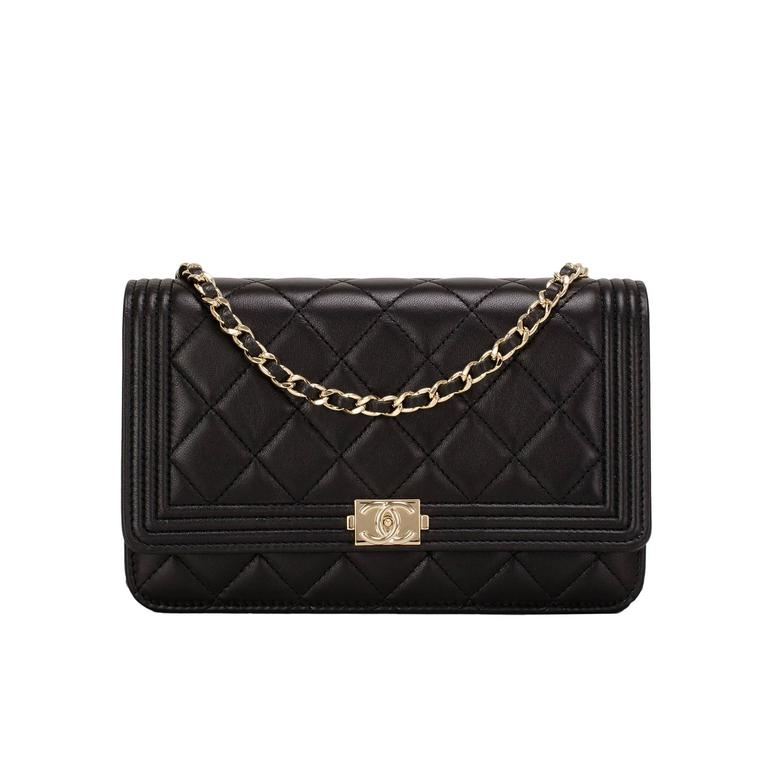 Chanel Black Quilted Lambskin Boy Wallet On Chain (WOC) Gold Hardware For Sale