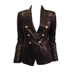 Balmain Black Leather Blazer with Gold Buttons