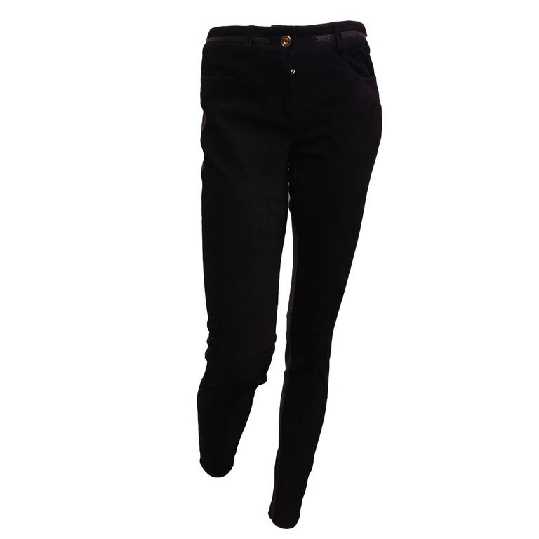 Givenchy Navy Suede and Black Leather Leggings 1
