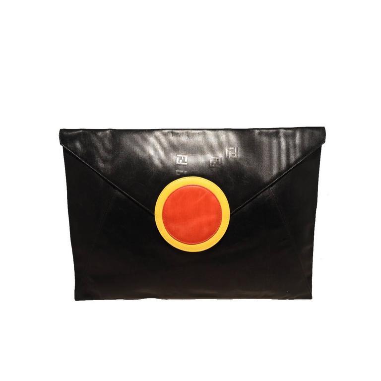 Fendi Fabulous Vintage Collectors Item Oversize Black Envelope Clutch  1