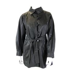 Emanuel Ungaro Black Cotton Belted Jacket