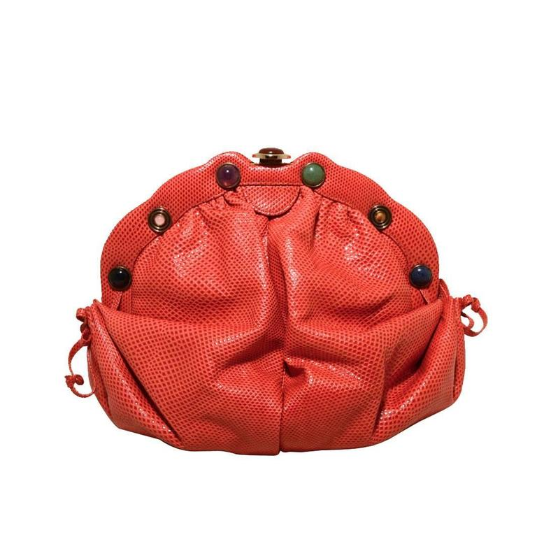 Judith Leiber Dark Pink Coral Lizard Leather Clutch For Sale