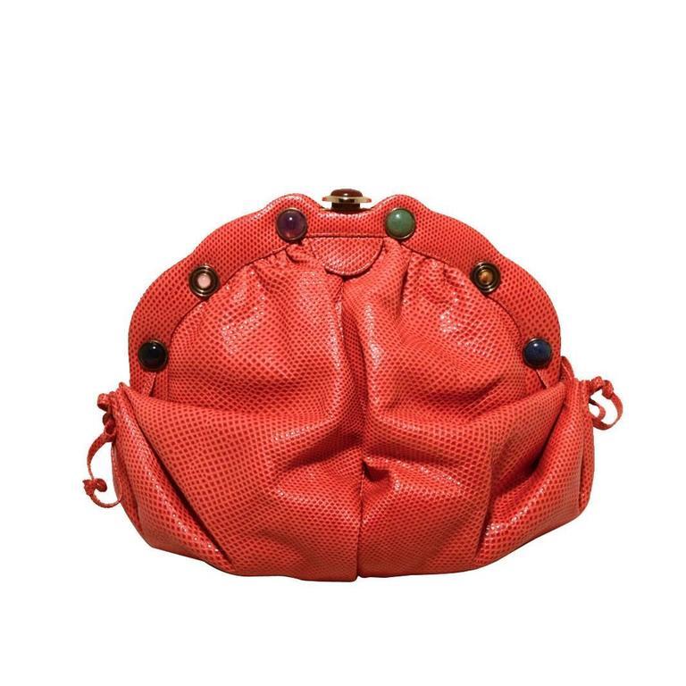 Judith Leiber Dark Pink Coral Lizard Leather Clutch 1