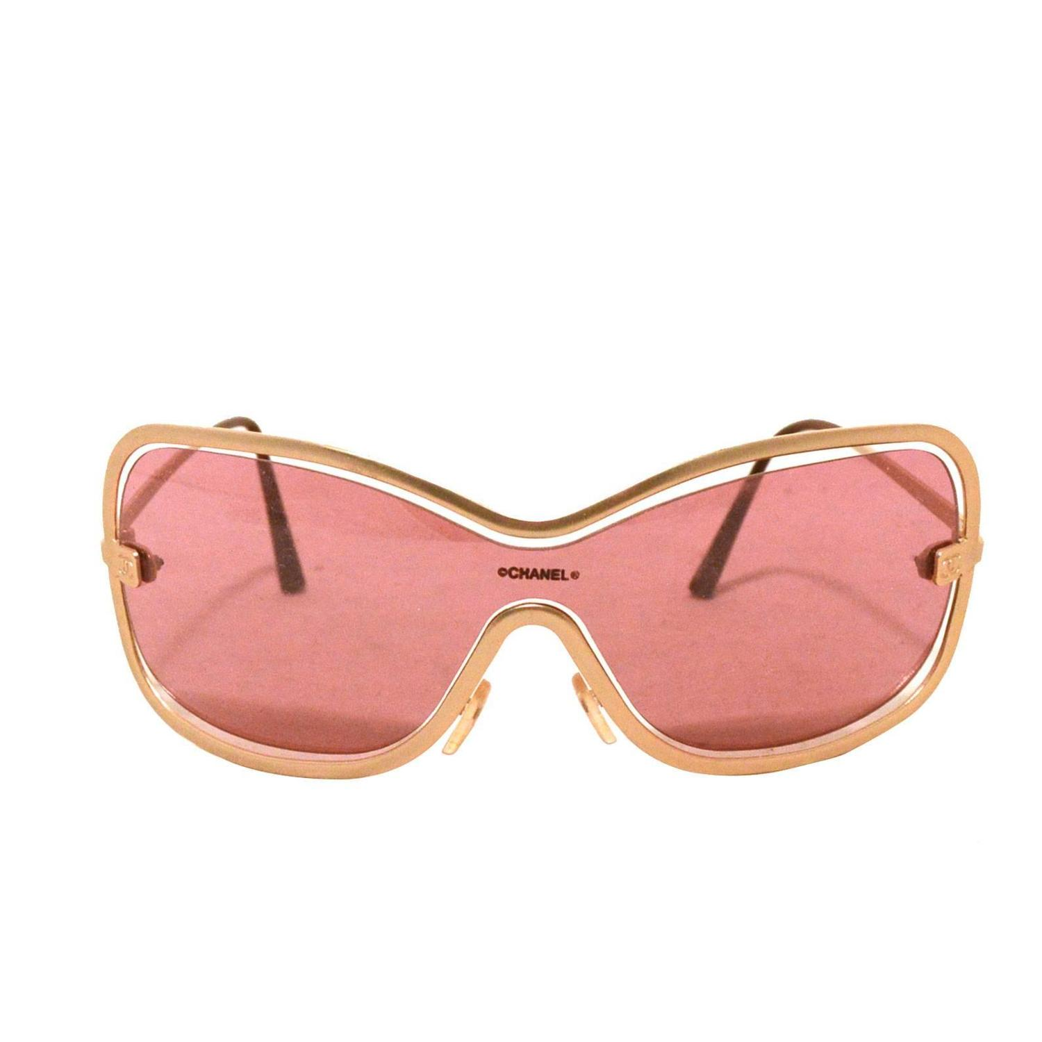 Gold Frame Chanel Sunglasses : Chanel Rare Gold Floating Frame Sunglasses at 1stdibs