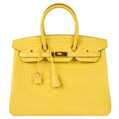 Hermes Birkin 35 Bag Matte Mimosa Yellow Gold Hardware Crazy Fabulous