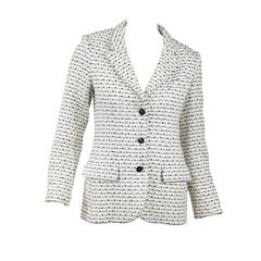 Chanel Black and White Tweed Cotton Blend Jacket