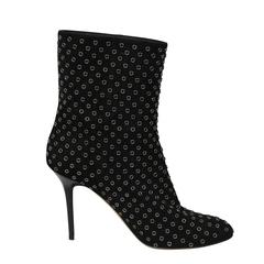 Jimmy Choo Black Leather Booties With Silver Nailhead Detail