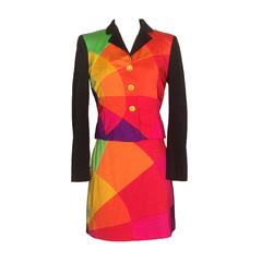 Moschino Cheap & Chic 1990s Multicolor Skirt Suit with Smiley Face Buttons