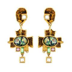 Multicolored Christian Lacroix Cross Drop Earrings