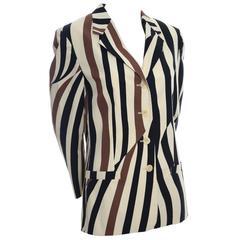 Mondi Vintage Blazer Abstract Stripes Jacket 38 Cotton Lined Size 8