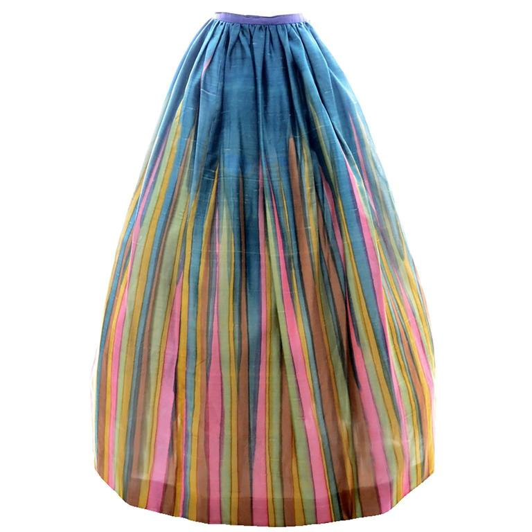 Vintage Long Silk Skirt in Watercolor Stripe Print from Exceptional Estate 1