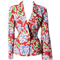 Ungaro Parallele Paris Vintage Blazer in Abstract Bright Floral Print Size 8