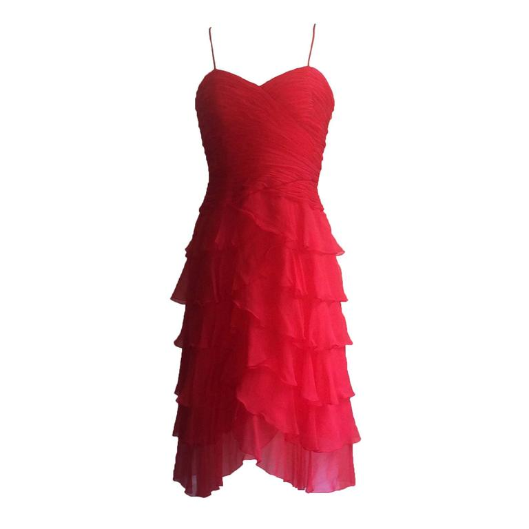 Oscar de la Renta Red Silk Chiffon Tiered Skirt Party Dress, 1990s