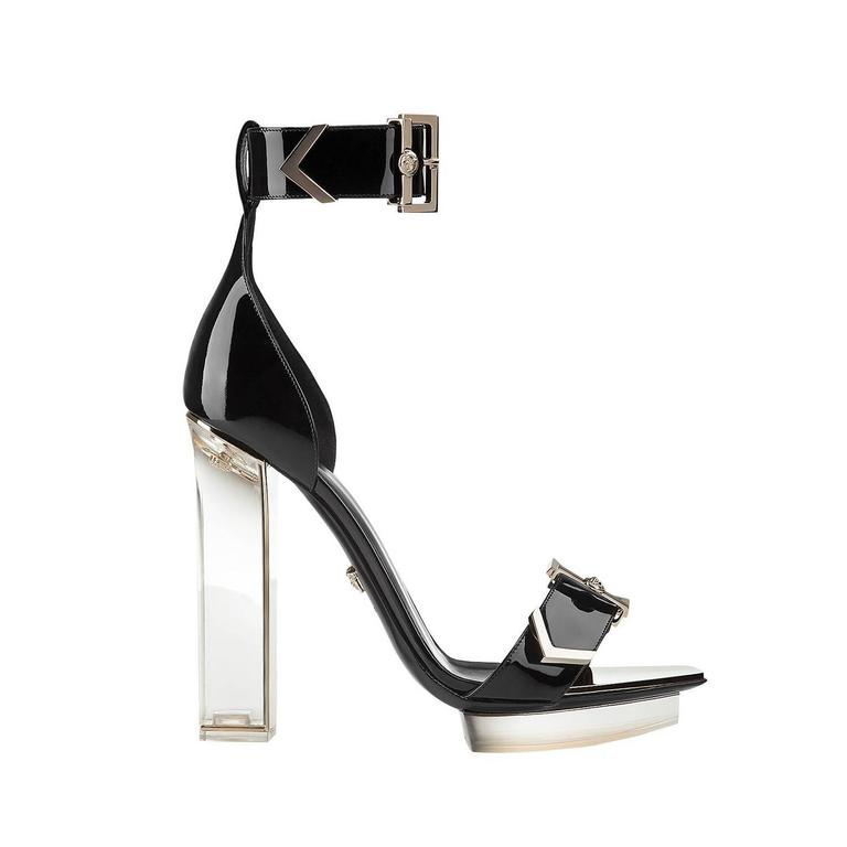 New VERSACE black patent leather plexi platform sandals For Sale