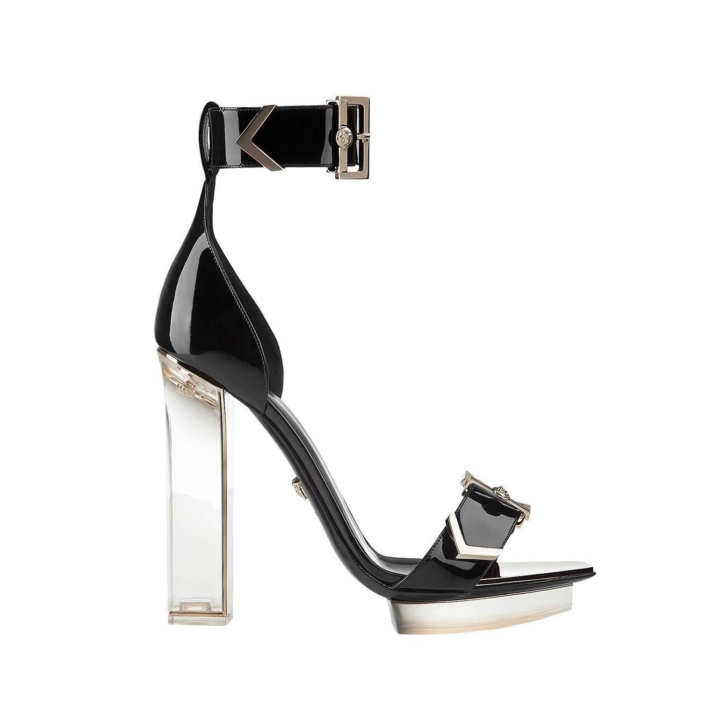 New VERSACE black patent leather plexiglass platform sandals