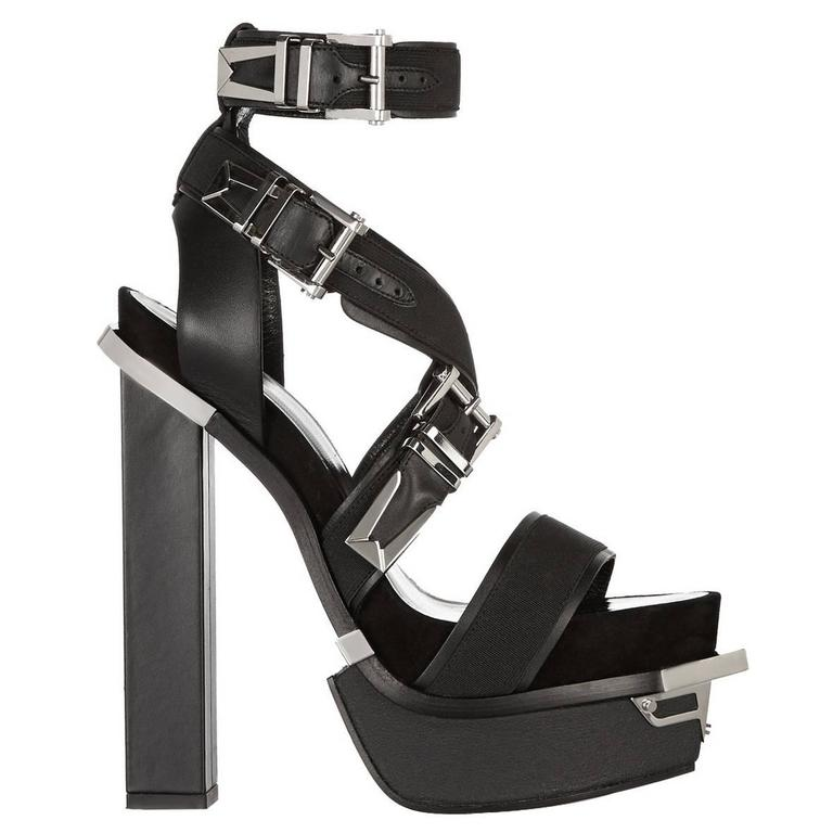 VERSACE Black Leather Canvas Platform Sandals  For Sale