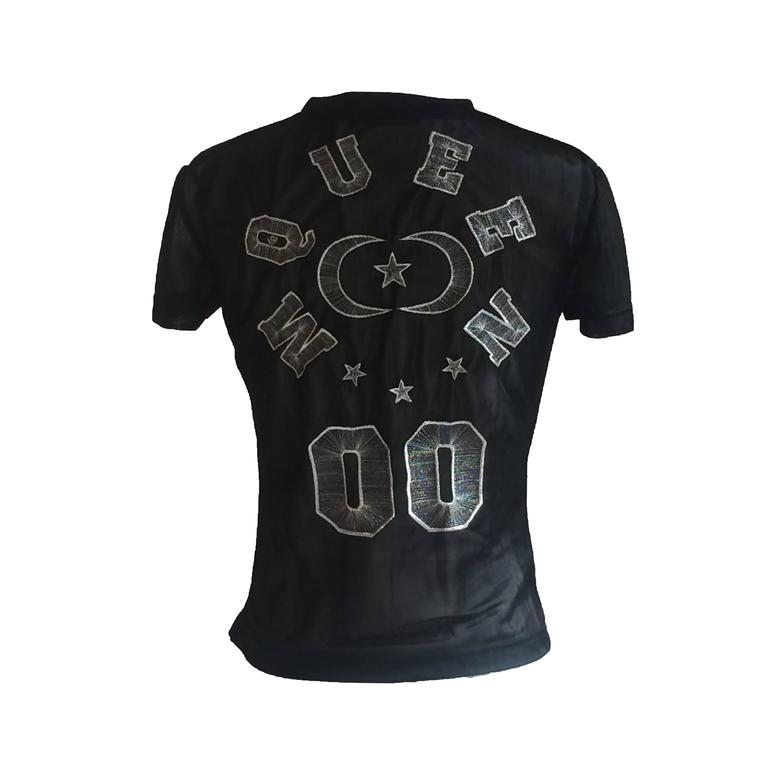 Alexander McQueen 2000 Black Star and Moon Mesh McQueen 00 T-Shirt  For Sale