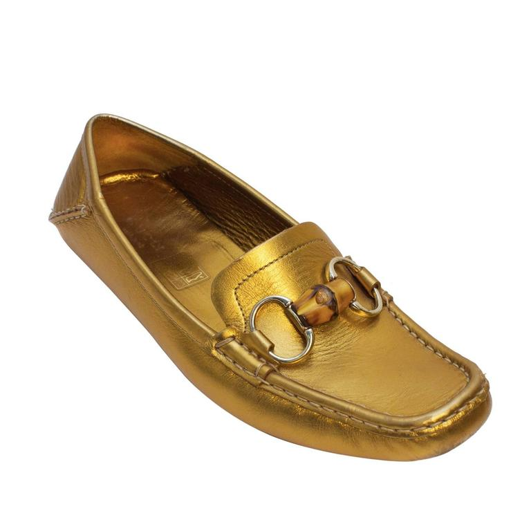 Gucci 2000s Gold Loafers with Bamboo  For Sale