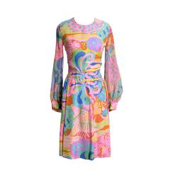 Vintage Tina Leser Original Silk Dress Chiffon Scarf Mod Psychedelic Print 60s