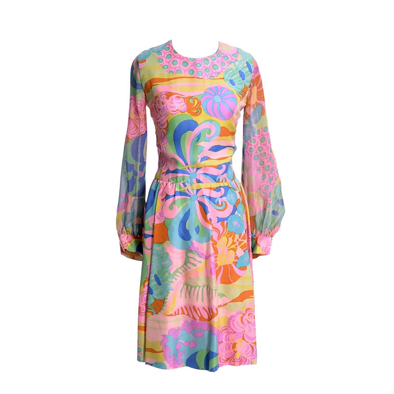 Vintage Psychedelic mod 1960s size medium dress