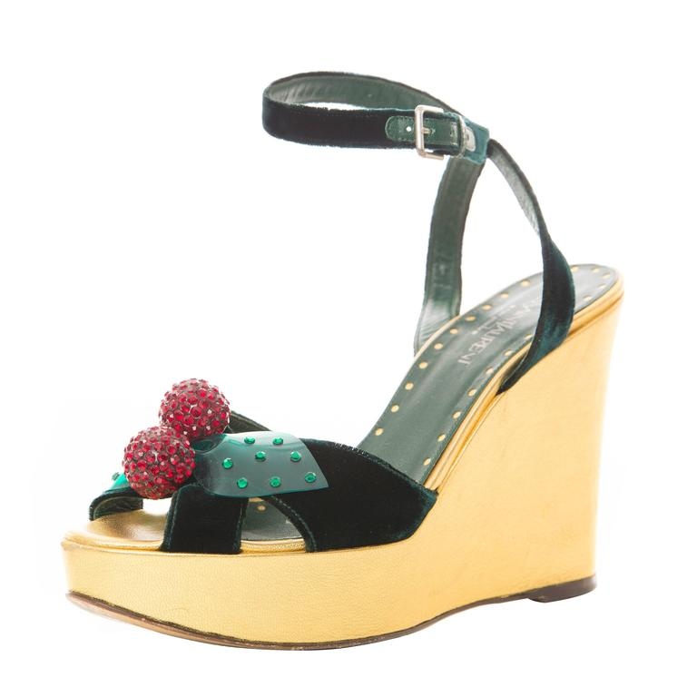 Tom Ford Yves Saint Laurent Emerald Green Velvet Cherry Platforms, Fall 2003 For Sale