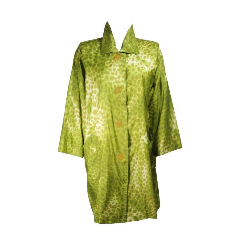 GIVENCHY Circa 1980's-1990's Green Silk Leopard Print Coat