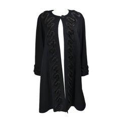 FENDI Circa 1980's Black Lana Wool with Faux Fur Applique Coat Size 42