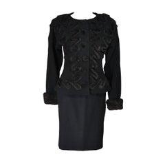 FENDI Circa 1980's Black Wool Skirt Suit with Faux Fur Applique Size 40