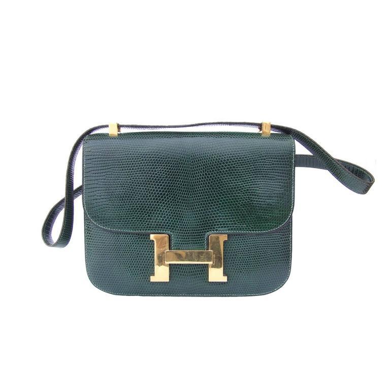 Rare Hermes Constance H Bag Emeral Green Lizard Gold Hdw 23 Cm For