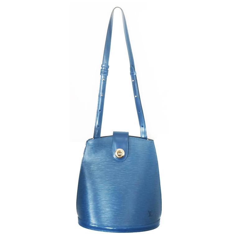 Authentic Louis Vuitton EPI Leather blue Cluny shoulder bag handbag purse  For Sale e55f20d0d0403