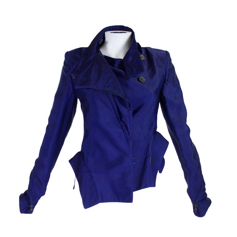 Ann Demeulemeester Asymmetrical Navy Moto Jacket with Zip Collar 1