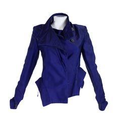 Ann Demeulemeester Asymmetrical Navy Moto Jacket with Zip Collar
