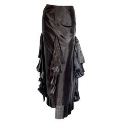 Chanel Black Asymmetric Skirt with Pleated Ruffles Silk Taffeta Evening 02A Sz S