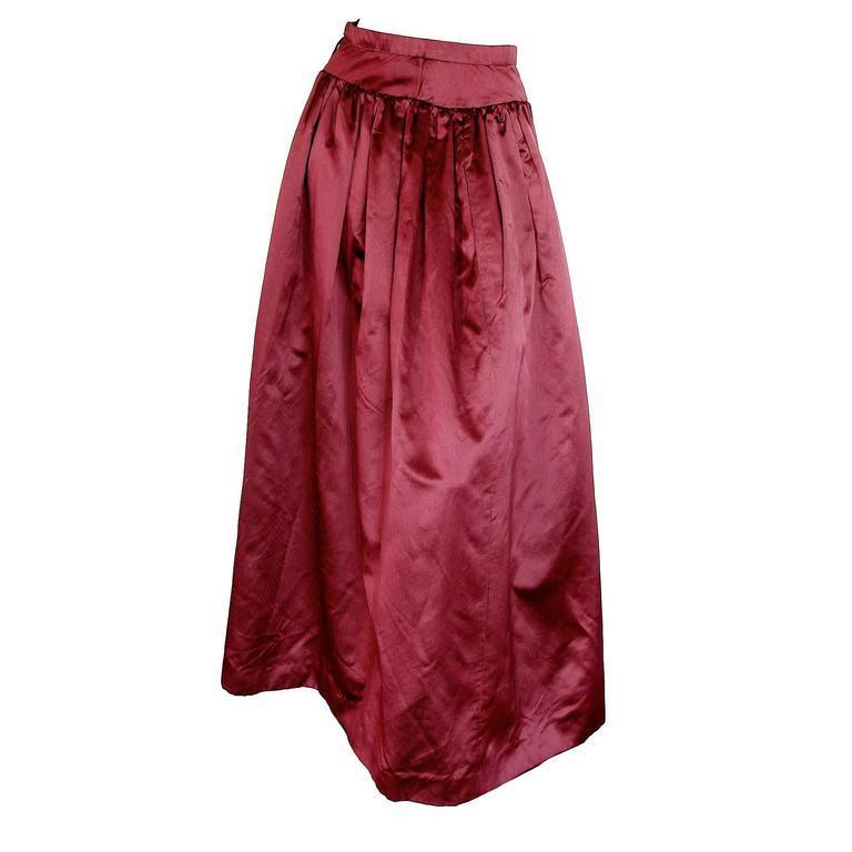 Oscar de la Renta Long Skirt Silk Taffeta Candy Stripe Holiday Box Pleats Sz S