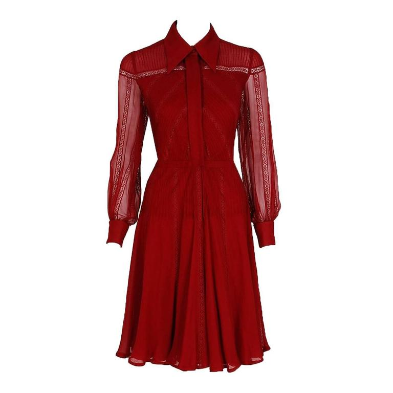 1970's Valentino Couture Burgundy-Red Silk Chiffon & Lace Pintuck Pleated Dress 1