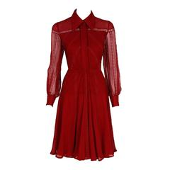 1970's Valentino Couture Burgundy-Red Silk Chiffon & Lace Pintuck Pleated Dress