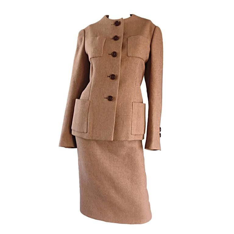 Classic Vintage Norman Norell 1960s 60s Size 12 Tan / Camel Jacket + Skirt Suit
