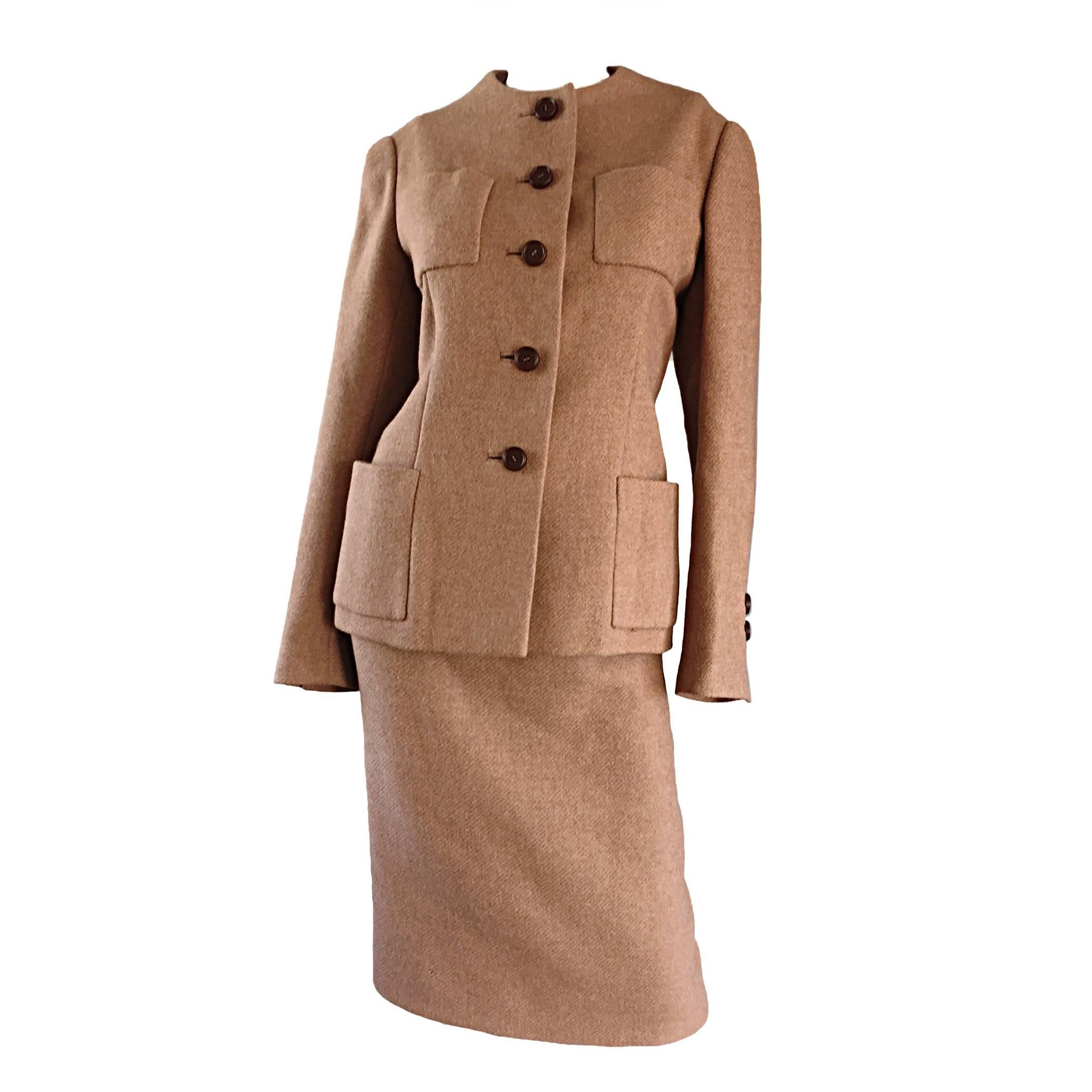 Norman Norell 1960s Size 12 Tan / Camel 60s Vintage Blazer Jacket + Skirt Suit