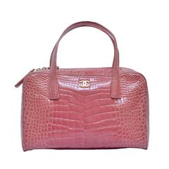 CHANEL Powder Pink Crocodile Handbag