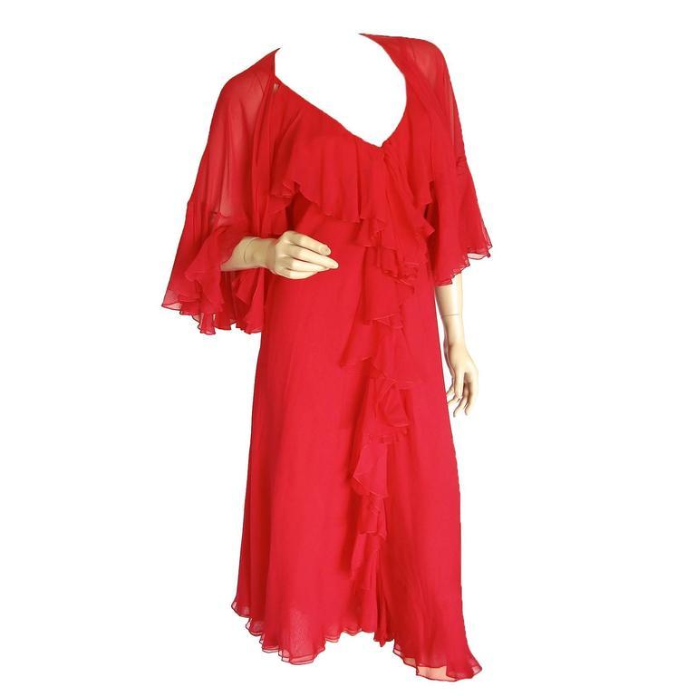 Pauline Trigère Coral Red Cocktail Dress with Shawl Silk Chiffon Ruffles 70s M