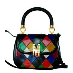Vintage 1980s Moschino Redwall Harlequin Top Handle Bag + Shoulder Strap Italy