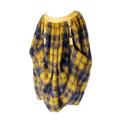 Bonnie Cashin for Sills Butterscotch Plaid Mohair Wool Dog Leash Skirt 1960s