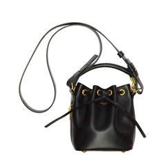 Saint Laurent Black Leather 'Emmanuelle' Bucket Bag GHW
